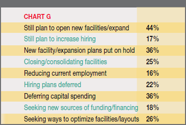 Chart G - Effects of the Sluggish Recovery on Clients' Facility Plans: